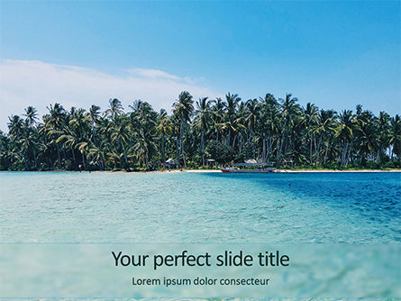 Nature & Environment: Beautiful Beach with Palm Trees PowerPoint Template #15724