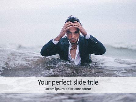 People: Handsome Man Coming out of the Sea PowerPoint Template #15726