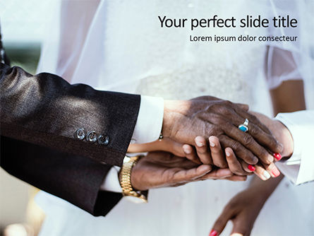 Holiday/Special Occasion: Closeup Photo of Hands on Wedding Ceremony PowerPoint Template #15728