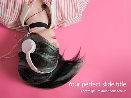 People: Emo Girl Wears Headphones PowerPoint Template #15729