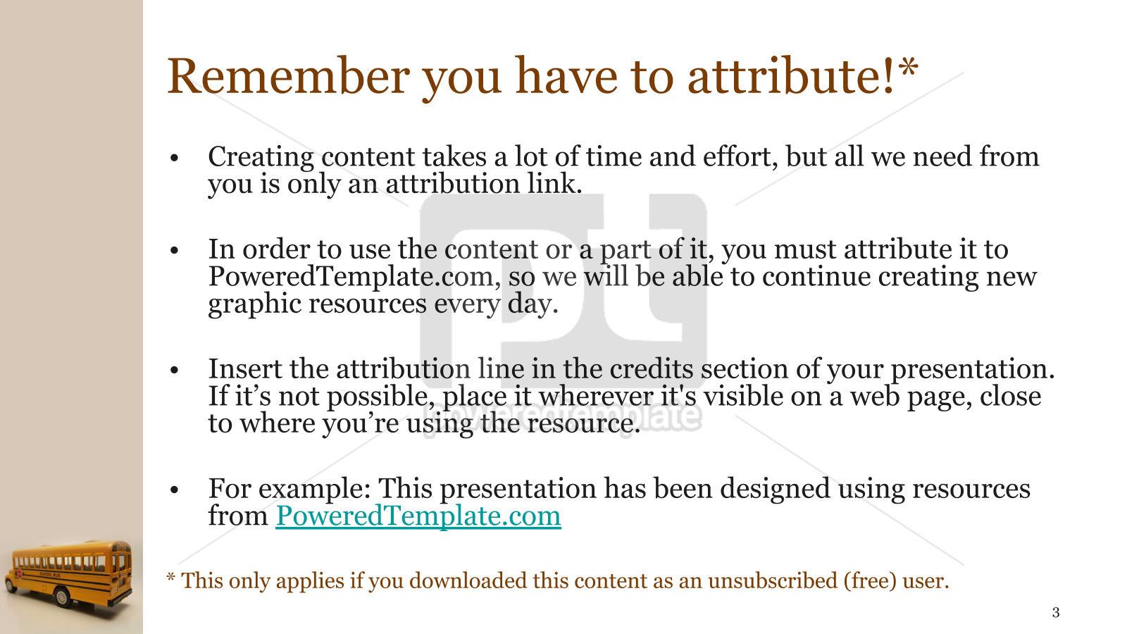 Toy School Bus PowerPoint Template, Slide 3, 15736, Education & Training — PoweredTemplate.com