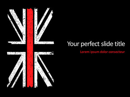 Military: Thin Red Line British Flag PowerPoint Template #15741