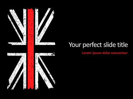Military: 파워포인트 템플릿 - 얇은 빨간 선 영국 국기 #15741