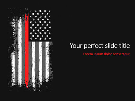 Military: Thin Red Line USA Flag PowerPoint Template #15742
