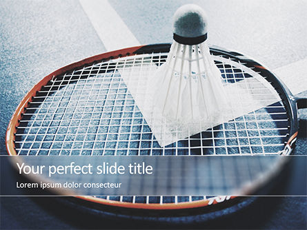 Sports: Close-up Badminton Racket and Shuttlecock PowerPoint Template #15744