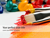 Education & Training: Close-up Brushes with Colorful Oil Paints PowerPoint Template #15745