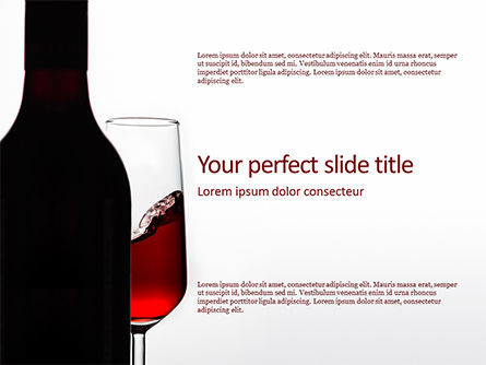 Food & Beverage: Bottle of Red Wine and Half Full Glass on White Background PowerPoint Template #15747