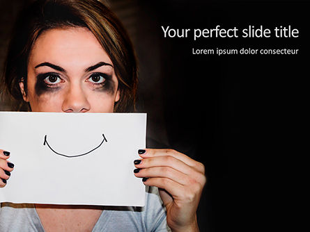People: Stressed Woman Holding Sheet of Paper with Hand-Drawn Smile PowerPoint Template #15748