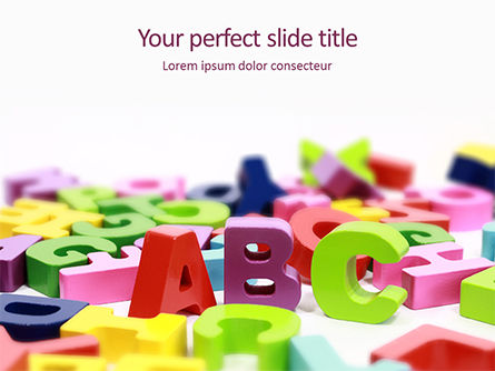 Education & Training: Scattered Alphabet Letters PowerPoint Template #15750