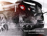 Cars and Transportation: 洗車で泡で車を覆う - PowerPointテンプレート #15751