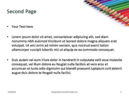 Colored Pencils Arranged in a Line Presentation, Slide 2, 15757, Education & Training — PoweredTemplate.com