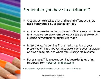 Colored Pencils Arranged in a Line Presentation, Slide 3, 15757, Education & Training — PoweredTemplate.com