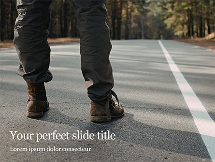 Man Wearing Boots Standing on a Road Presentation, 15758, Business Concepts — PoweredTemplate.com