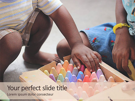 Education & Training: Toddlers are Playing with Full Box of Colored Chalk Presentation #15759