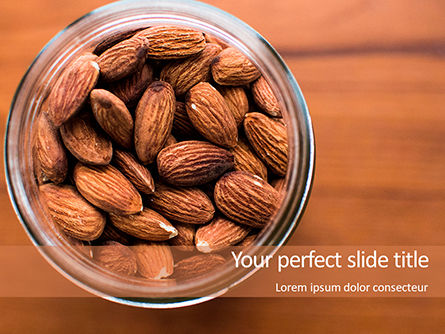 Top View of Glass Bowl Full of Almonds Presentation, 15760, Food & Beverage — PoweredTemplate.com