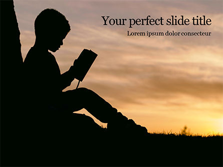Education & Training: Silhouette of Little Boy Reading the Book Presentation #15775