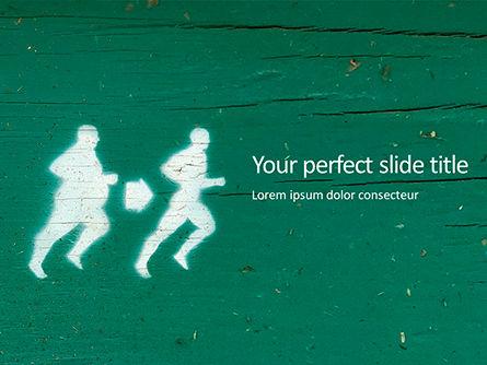 Sports: Concept Gewichtsverlies Met Silhouetten Van Mensen PowerPoint Template #15786