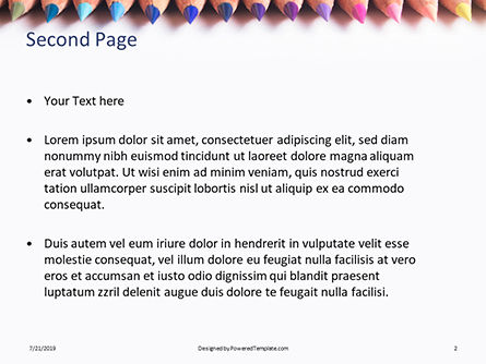 Pastel Colored Pencils Arranged in a Line Presentation, Slide 2, 15793, Education & Training — PoweredTemplate.com