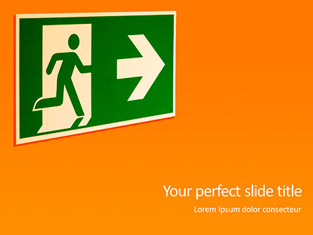 Careers/Industry: Emergency Exit Sign on Orange Background Presentation #15796