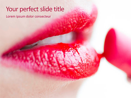 Careers/Industry: Closeup of Beautiful Woman Lips with Red Lipstick Presentation #15808