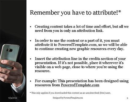 A Businessman Holding Phone Presentation, Slide 3, 15813, People — PoweredTemplate.com