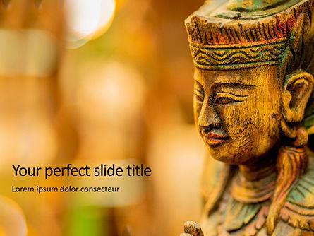 Religious/Spiritual: Modelo de PowerPoint Grátis - feche acima da vista da estátua de madeira #15821