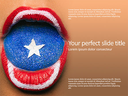 Holiday/Special Occasion: Beautiful Female Lips and Tongue Painted in Captain America's Shield Style Presentation #15827