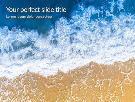 Nature & Environment: Aerial View of Sandy Beach and Ocean with Waves Presentation #15846