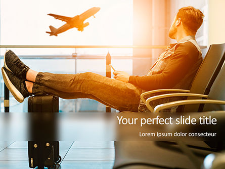 Cars and Transportation: Man Sitting on Chair with Feet on Luggage and Looking at Airplane Presentation #15848