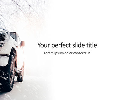 Cars and Transportation: Auto Op Een Besneeuwde Weg Gratis Powerpoint Template #15859