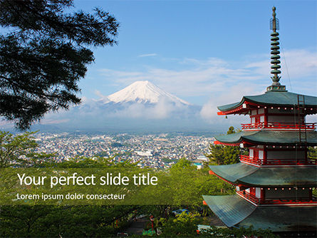 Nature & Environment: View of Mount Fuji with Chureito Pagoda Presentation #15867