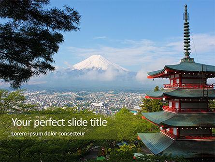 Nature & Environment: Ansicht vom fujisan mit chureito pagode Kostenlose PowerPoint Vorlage #15867