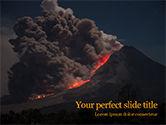 Nature & Environment: Modelo de PowerPoint Grátis - erupção do vulcão durante a noite #15875