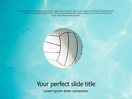Sports: Plantilla de PowerPoint - bola blanca sobre la superficie del agua en la piscina azul #15885