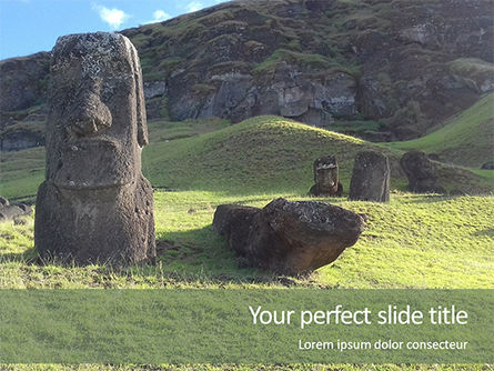 Art & Entertainment: Plantilla de PowerPoint gratis - moai de pie en la isla de pascua #15910