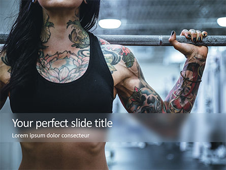 Sports: Tattooed Girl Holds Barbell on Her Shoulders Presentation #15922