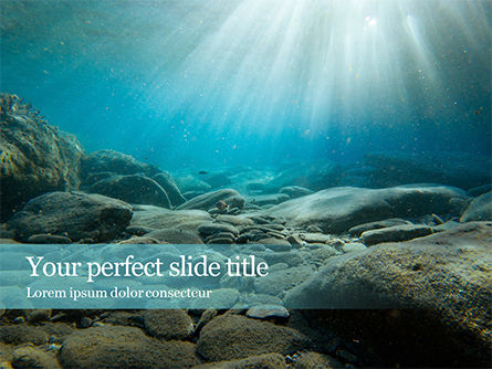 Nature & Environment: Sunbeams Underwater with Rocks on the Seabed Presentation #15932