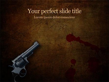 Legal: Modèle PowerPoint gratuit de pistolet sur le sol avec des éclaboussures de sang #15934