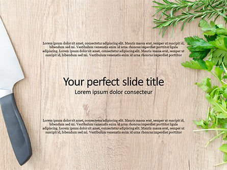 Food & Beverage: fresh herbs on wooden cutting board - 無料PowerPointテンプレート #15963