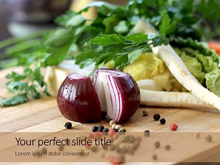 Food & Beverage: Koken Ingrediënten Op Snijplank PowerPoint Template #15966