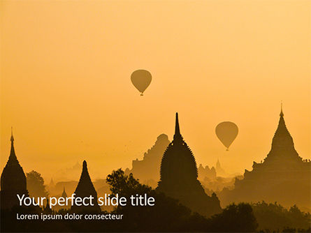 Construction: Modello PowerPoint - Mongolfiere sopra antica pagoda in bagan #15982