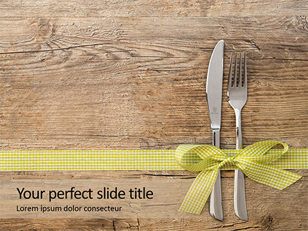 Careers/Industry: Knife and Fork with Gift Ribbon on Wooden Surface Presentation #15993