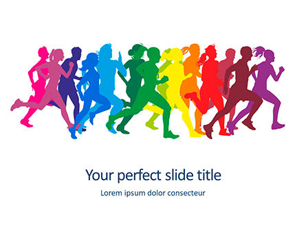People: Modello PowerPoint - Sagome colorate di gente che corre #16001
