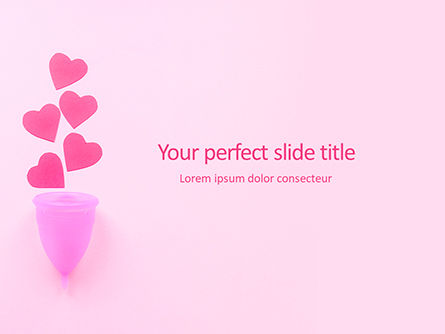 Medical: Menstrual Cup with Hearts on Pink Background Presentation #16009