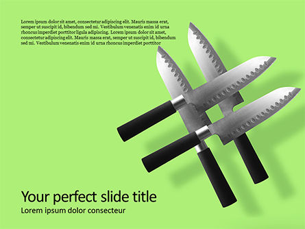 Careers/Industry: Four Levitating Knives Against Green Background Presentation #16027