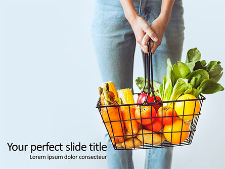 Food & Beverage: Woman Holding Shopping Basket Full of Fruits and Vegetables Presentation #16034