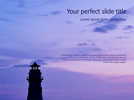 Nature & Environment: Lighthouse Silhouette Against Purple Sky Presentation #16037