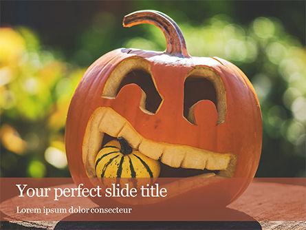 Holiday/Special Occasion: Modelo do PowerPoint - abóbora esculpida de halloween #16039
