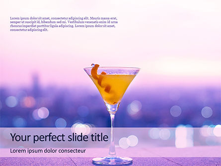 Food & Beverage: Martini Glass Against Blurred Cityscape Presentation #16040