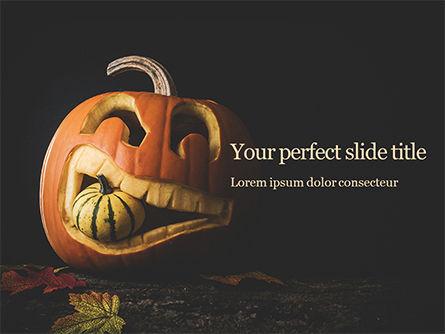 Holiday/Special Occasion: Templat PowerPoint Gratis Halloween Labu Berukir Dalam Kegelapan #16046